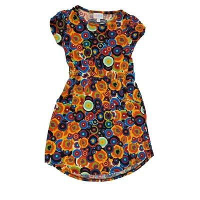 Kids Mae LuLaRoe Geometric Blue Orange Black Polka Dot Pocket Dress Size 8 fits kids 7-8
