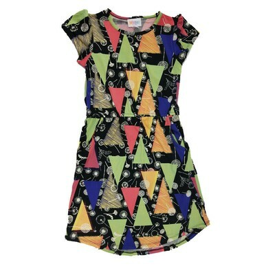 Kids Mae LuLaRoe Geometric Black Green Yellow Dandelions Pocket Dress Size 8 fits kids 7-8