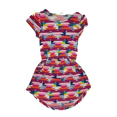 Kids Mae LuLaRoe Geometric Fuchsia Pink Blue Pocket Dress Size 2 fits kids 2T-4