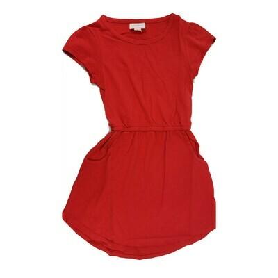 Kids Mae LuLaRoe Red Solid Pocket Dress Size 4 fits kids 3-4