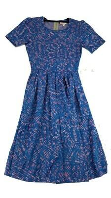 AMELIA Blue Pink and Light Blue Chevrons Geometric XX-Small (XXS) LuLaRoe Womens Dress for sizes 00-0