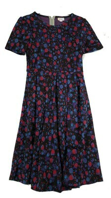 AMELIA Black with Blue and Fuchsia Floral Small (S) LuLaRoe Womens Dress for sizes 6-8