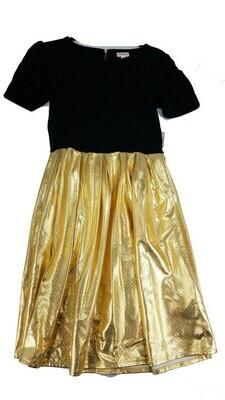 AMELIA Solid Black and Gold Medium (M) LuLaRoe Womens Dress for sizes 10-12