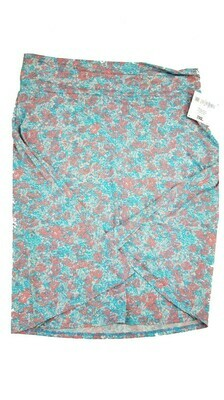 AZURE XXX-Large (3XL) Light Blue and Lavender Floral LuLaRoe Skirt fits 22-24