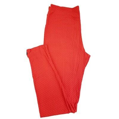 LuLaRoe Tall Curvy TC Red and White Polka Dot Geometric Leggings fits 12-18