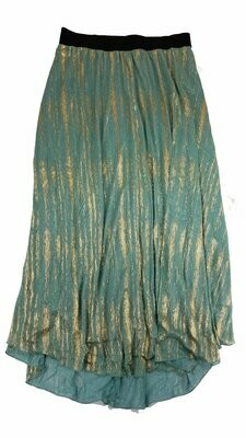 LuLaRoe Lucy Metallic Gold and Teal with Black X-Large (XL) Floor Length Women's Skirt fits Sizes 16-18