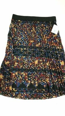 LuLaRoe Jill Black Blue Red Tan X-Large (XL) Accordion Women's Skirt fits Sizes 18-20