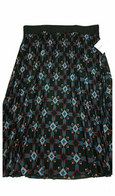 LuLaRoe Jill Black Coral Blue Large (L) Accordion Women's Skirt fits Sizes 14-16
