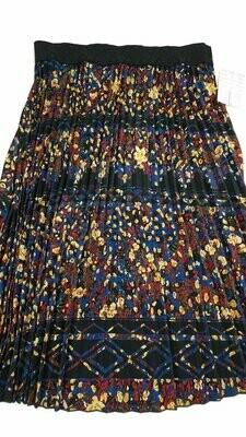 LuLaRoe Jill Black Tan Blue Large (L) Accordion Women's Skirt fits Sizes 14-15.99