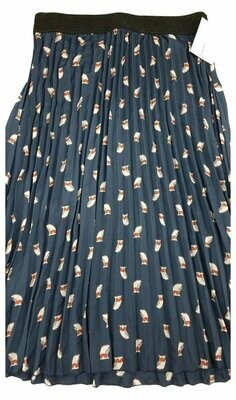 LuLaRoe Jill Navy with Grey Owls Large (L) Accordion Women's Skirt fits Sizes 14-16