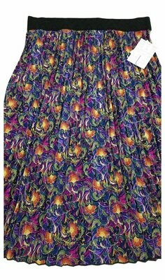 LuLaRoe Jill Navy Olive Green Pink Floral Large (L) Accordion Women's Skirt fits Sizes 14-16