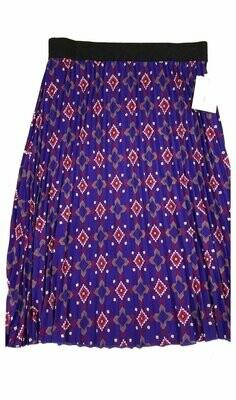 LuLaRoe Jill Purple Red Gold Large (L) Accordion Women's Skirt fits Sizes 14-15.99