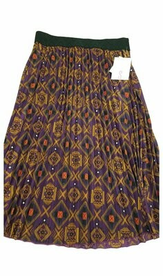 LuLaRoe Jill Red Wine Gold Small (S) Accordion Women's Skirt fits Sizes 6-8