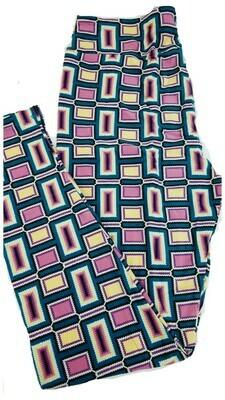 LuLaRoe Tall Curvy TC Turquoise Lavender Light Yellow Geometric Stripe Leggings fits 12-18