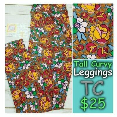 LuLaRoe Tall Curvy TC Roses Leggings fits sizes 12-18