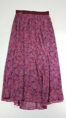 LuLaRoe Lucy Fuchsia Blue and Purple Paisley Large (L) Floor Length Women's Skirt fits Sizes 12-14