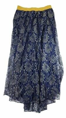 LuLaRoe Lucy Blue Gold Elegant Floral Medium (M) Floor Length Women's Skirt fits Sizes 8-10