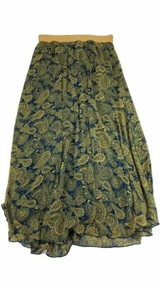 LuLaRoe Lucy Dark Blue and Gold Paisley Large (L) Floor Length Women's Skirt fits Sizes 12-14