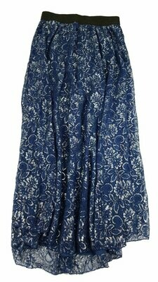 LuLaRoe Lucy Elegant Blue Silver Metallic Small (S) Floor Length Women's Skirt fits Sizes 4-6