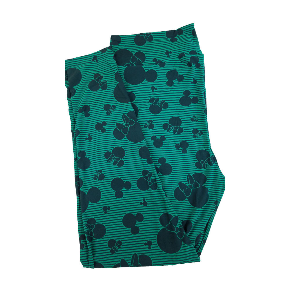 LuLaRoe TC2 Disney Mickey and Minnie Mouse Green and Dark Green Stripe Leggings fits Adult Sizes 18+