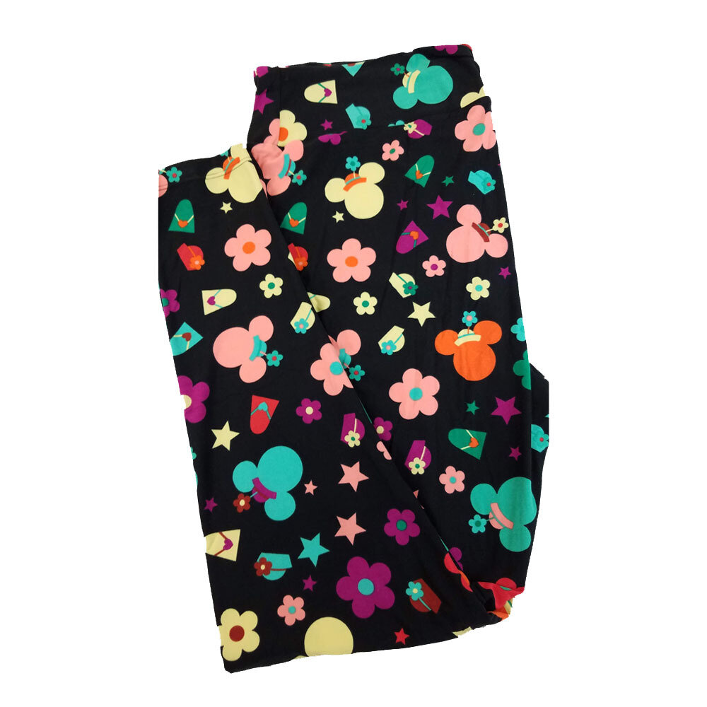 LuLaRoe TC2 Disney Minnie Mouse Flowers Stars Hats Necklaces Fashion Black Green Yellow Leggings fits Adult Sizes 18+