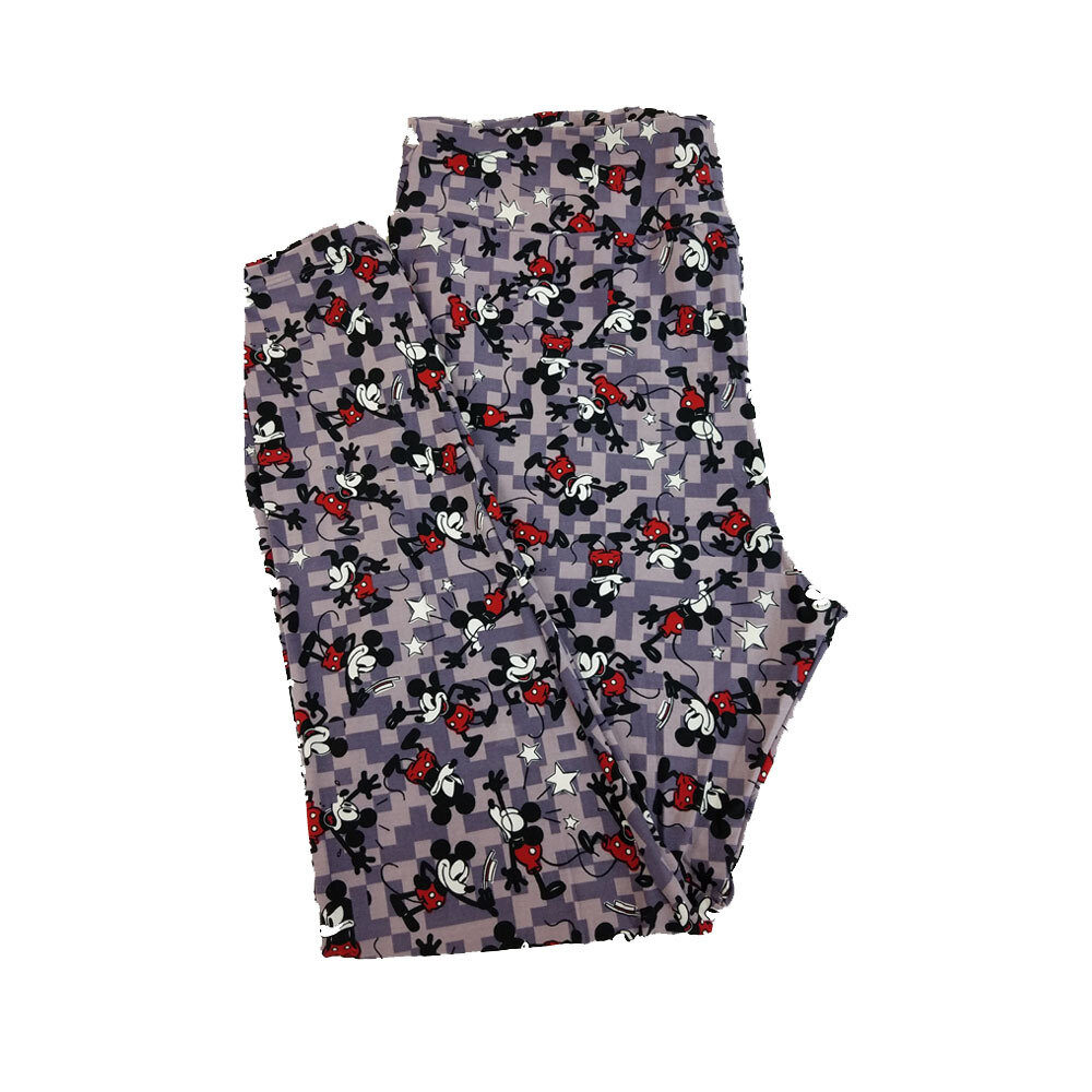 LuLaRoe TC2 Disney Animated Mickey Mouse Tip of the Hat Falling Down Lavender Red Black Leggings fits Adult Sizes 18+