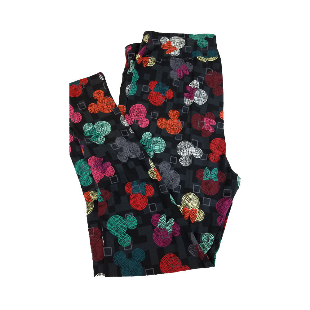 LuLaRoe TC2 Disney Mickey and Minnie Mouse Micro Black Yellow Pink White Green Polka Dot Leggings fits Adult Sizes 18+