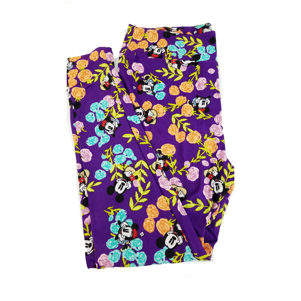 LuLaRoe TC2 Disney Mickey and Minnie Mouse Sitting in the Flowers Purple Orange Pink Black Leggings fits Adult Sizes 18+