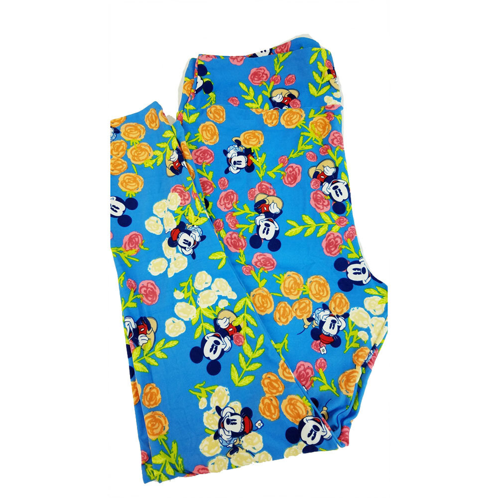 LuLaRoe TC2 Disney Mickey and Minnie Mouse Sitting in the Flowers Blue Green Pink Black Leggings fits Adult Sizes 18+