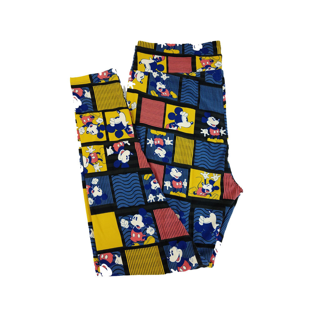 LuLaRoe TC2 Disney Surprised Mickey Mouse Black Mustard Blue White Leggings fits Adult Sizes 18+
