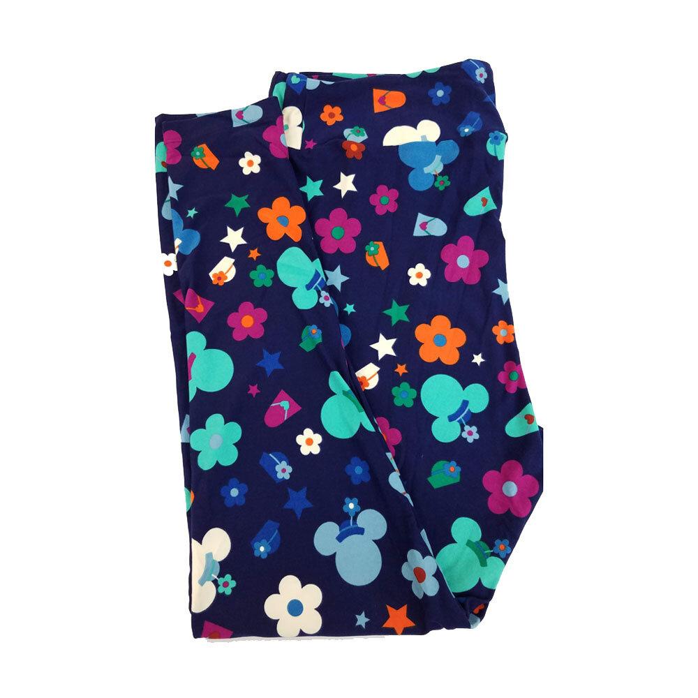 LuLaRoe TC2 Disney Minnie Mouse Flowers Stars Hats Necklaces Fashion Dark Blue Teal Orange Leggings fits Adult Sizes 18+