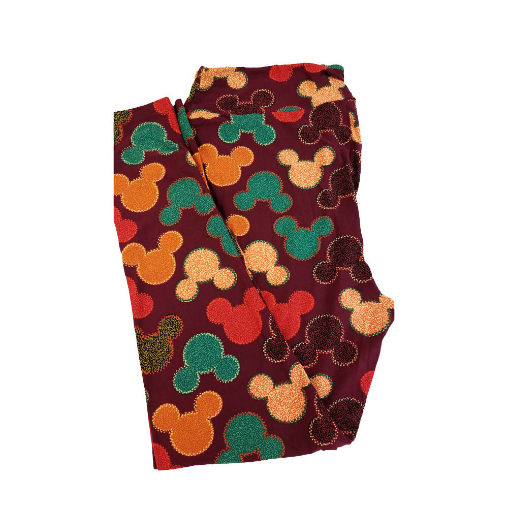 LuLaRoe TC2 Disney Mickey Mouse Geometric Maroon Gold Orange Leggings fits Adult Sizes 18+