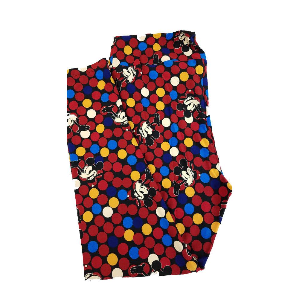 LuLaRoe TC2 Disney Hello Mickey Mouse Black Red Blue White Polka Dot Leggings fits Adult Sizes 18+