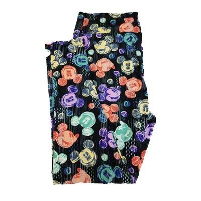 LuLaRoe TC2 Disney Smiling Mickey Mouse Black Purple Green Leggings fits Adult Sizes 18+