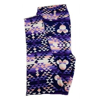 LuLaRoe TC2 Disney Minnie Mouse Geometric Pink Purple White Leggings fits Adult Sizes 18+