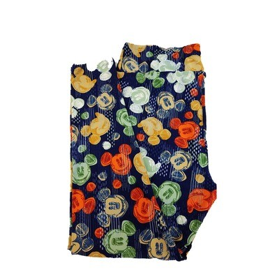 LuLaRoe TC2 Disney Smiling Mickey Mouse Navy Blue Gold Green Leggings fits Adult Sizes 18+