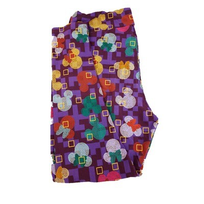LuLaRoe TC2 Disney Mickey and Minnie Mouse Geometric Purple Yellow White Micro Polka Dot Leggings fits Adult Sizes 18+