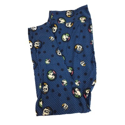 LuLaRoe TC2 Disney Smiling Minnie Mouse Blue White Black Green Polka Dot Leggings fits Adult Sizes 18+