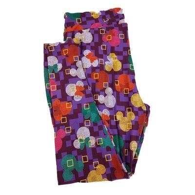 LuLaRoe TC2 Disney Mickey and Minnie Mouse GeometricWhite Green Micro Polka Dot Leggings fits Adult Sizes 18+
