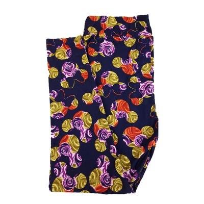 LuLaRoe TC2 Disney Mickey and Minnie Mouse Roses Dark Blue Gold Purple Leggings fits Adult Sizes 18+