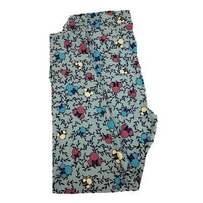 LuLaRoe TC2 Disney Minnie Mouse Branches Light Green Pink Blue Leggings fits Adult Sizes 18+