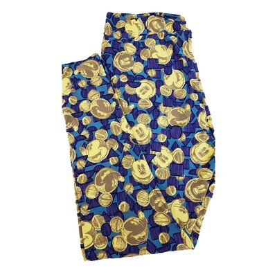 LuLaRoe TC2 Disney Smiling Mickey Mouse Triangle Square Circle Light Dark Blue Gold Leggings fits Adult Sizes 18+