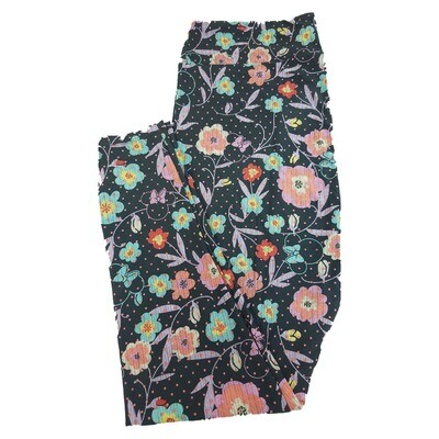 LuLaRoe TC2 Disney Minnie Mouse Floral Polka Dot Black Pink Fuchsia Leggings fits Adult Sizes 18+