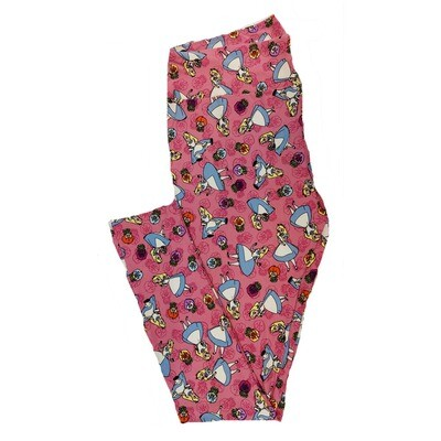 LuLaRoe Tall Curvy TC Disney Alice in Wonderland Talking Flowers Floral Adult Leggings fits 12-18