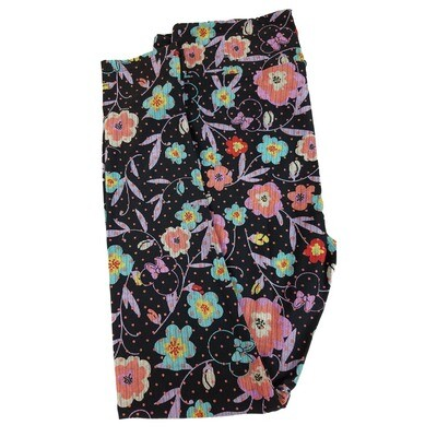 LuLaRoe Tall Curvy TC Disney Minnie Mouse Floral Polka Dot Adult Leggings fits 12-18