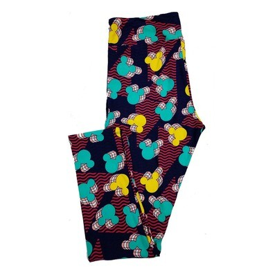 LuLaRoe Tall Curvy TC Disney Zooming Mickey Mouse Multiples Wavy Stripes Adult Leggings fits 12-18