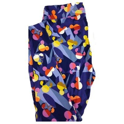 LuLaRoe Tall Curvy TC Disney Mickey and Minnie Mouse Geometric Rainbow Adult Leggings fits 12-18