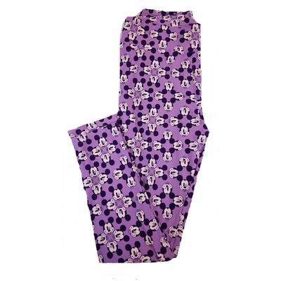 LuLaRoe Tall Curvy TC Disney Winking Mickey Mouse Geometric Adult Leggings fits 12-18