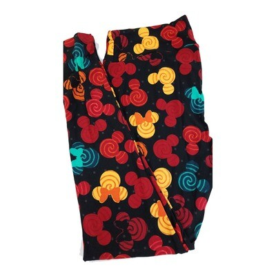 LuLaRoe Tall Curvy TC Disney Mickey and Minnie Mouse Black Red Yellow Polka Dot Spiral Adult Leggings fits 12-18