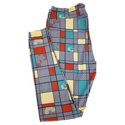 LuLaRoe Tall Curvy TC Disney Mickey and Minne Mouse Geometric Square Teal Cream Red Polka Dot Adult Leggings fits 12-18